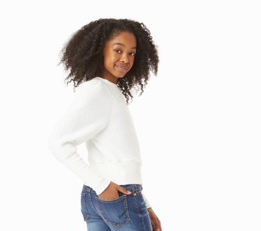 HABITUAL Girls Long Sleeve Sparkle Sweater