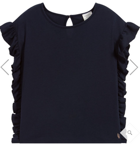 Carrément Beau Blue Cotton Frill T-Shirt