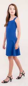 Un Deux Trois Denim Blue Textured Skater Dress