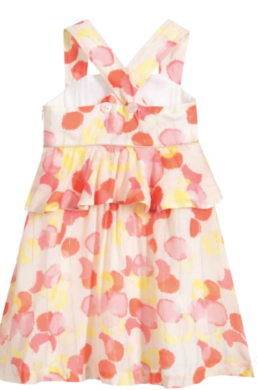 Lili Gaufrette Girls Pink Viscose Dress