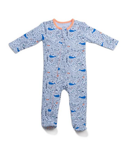 EGG SEASIDE WHALES CLASSIC ZIPPER FOOTIE