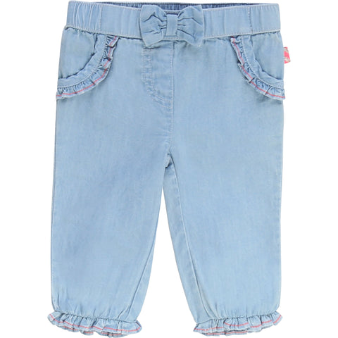 Billieblush Blue Cotton Infant Chambray Trousers