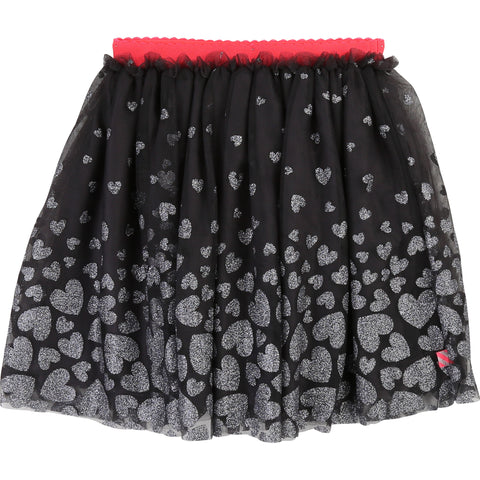 BILLIEBLUSH Girls Tulle Skirt w/ Glitter Hearts