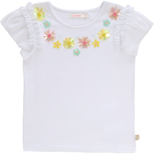 Billieblush White Sequinned Cotton T-Shirt