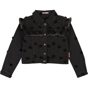 BILLIEBLUSH Girls Denim Dot Jacket