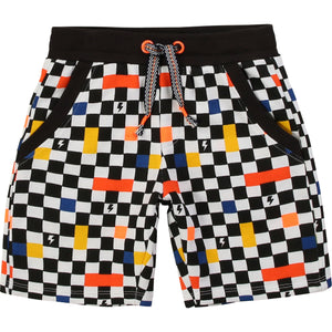 Billybandit Black Checked Cotton Shorts
