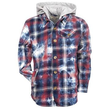 Appaman - GLEN HOODED SHIRT RED/INDIGO PLAID