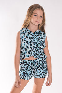 Tweenstyle Shorts, Blue Leopard