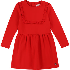 CARREMENT BEAU Girls Long Sleeve Milano Dress with Ruffle