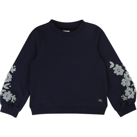 CARREMENT BEAU Girls Sweatshirt with Floral Sleeves