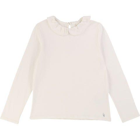 CARREMENT BEAU Girls Long Sleeve White Top with Ruffle Collar