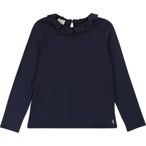 CARREMENT BEAU Girls Navy Long Sleeve Top with Ruffle Collar