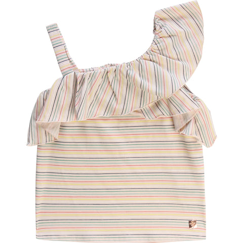 Carrément Beau Girls Pink Striped Jersey Top