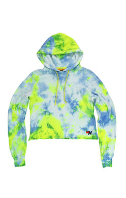 Aviator Nation - HAND DYED PULLOVER CROP HOODIE - NEON YELLOW