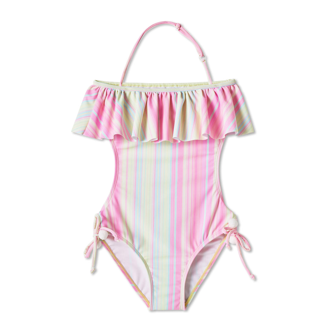 Candy Pink Striped Swimsuit