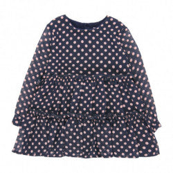 BOBOLI Girls Chiffon Dress with Polka Dot and Ruffle Skirt
