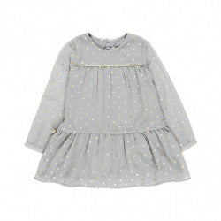 BOBOLI Girls Chiffon Dress with Polka Dots