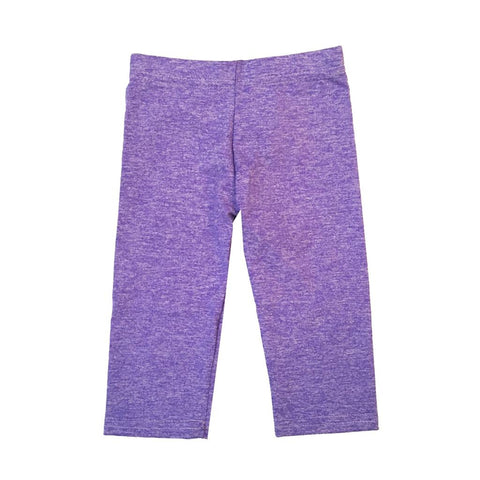 Dori Creations - Heathered Capri Leggings - Violet/White