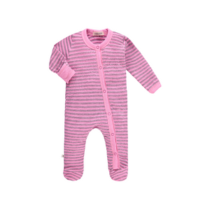PAIGE LAUREN L/S Striped Footie Romper