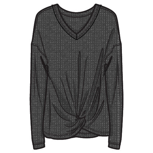 HABITUAL Ellison Knot Girls Grey Waffle Knit Long Sleeve Top