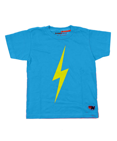 Aviator Nation Kids Bolt Tee - Neon Blue