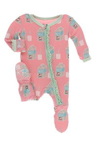 KICKEE PANTS PRINT MUFFIN RUFFLE FOOTIE WITH ZIPPER - STRAWBERRY MILK