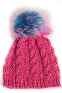 Yarn Girl Designs - Kids Cable Knit Pom Pom Hat - Pink