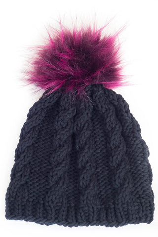 Yarn Girl Designs - Kids Cable Knit Pom Pom Hat - Black