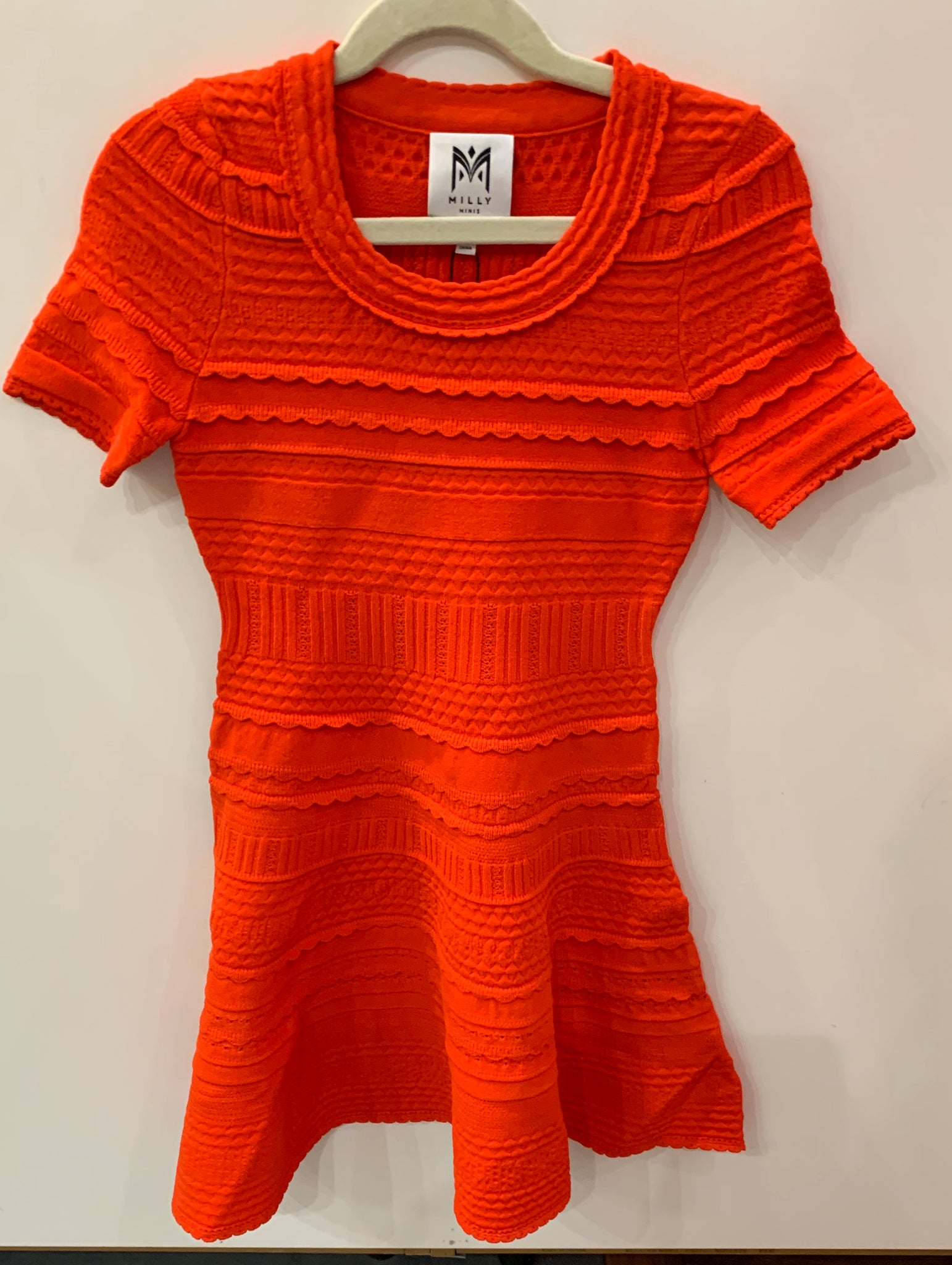 Milly Textured Knit Dress - Tomato