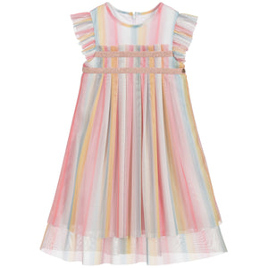 Lili Gaufrette Pink Striped Tulle Dress
