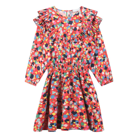 STELLA MCCARTNEY Girls Confetti Print Long Sleeve Dress