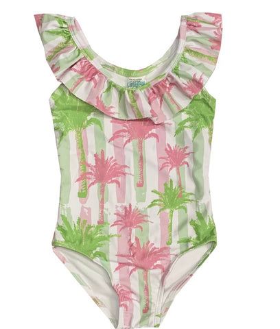 AGGRO PACIFIC Girls Striped Palm Tree Bathing Suit