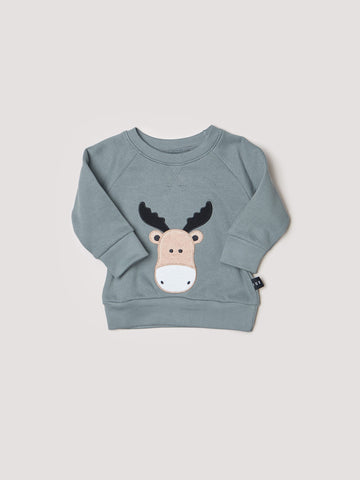 HUXBABY Long Sleeve Sweatshirt with Moose