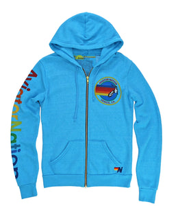 AVIATOR NATION ZIP HOODIE - NEON BLUE