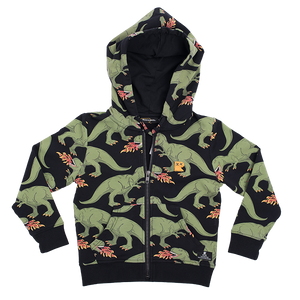 ROCK YOUR BABY Dinosaur Zip Hooded Sweatshirt