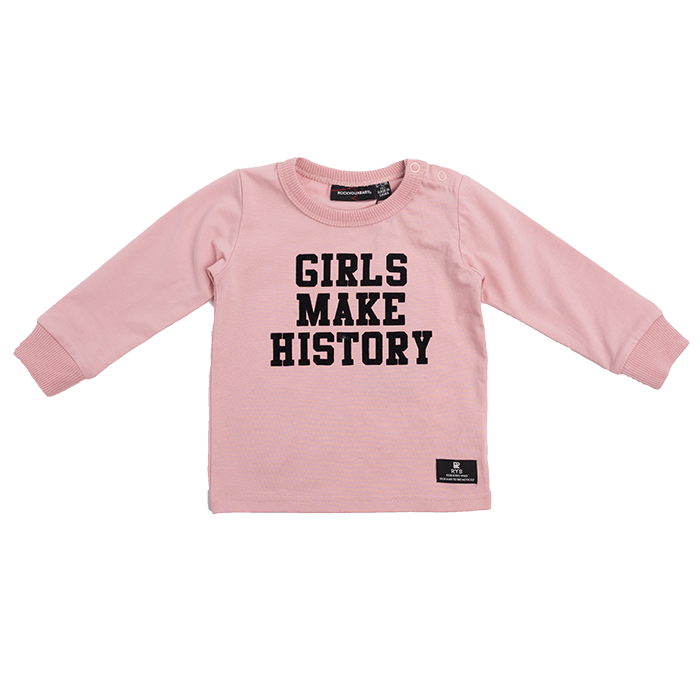 "ROCK YOUR BABY Baby Girls ""Girls Make History"" Long Sleeve Top"