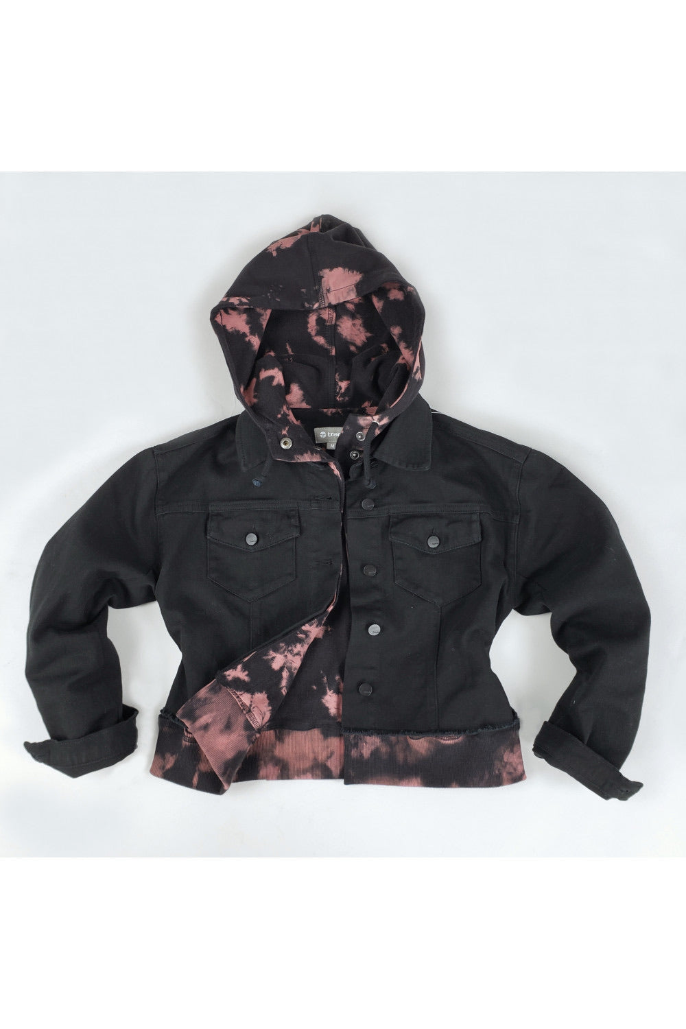 Tractr - TIE DYE PRINT SWEATER WITH BLACK DENIM JACKET