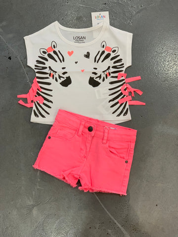 LOSAN Neon Pink Denim Shorts