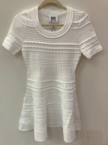 Milly Textured Knit Dress - White
