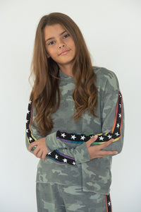 FLOWERS BY ZOE Girls Camo Star Top