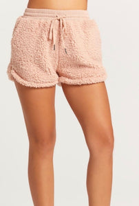 Olivaceous - Shearling Shorts - Blush