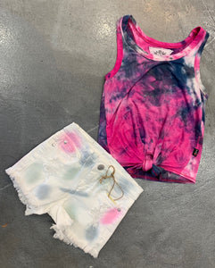 Pinc Denim Tie Dye Shorts