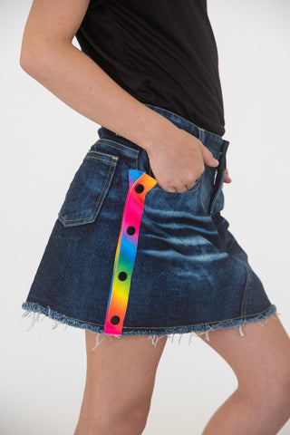 FLOWERS BY ZOE Girls Denim Skirt with Tie Dye Stripe