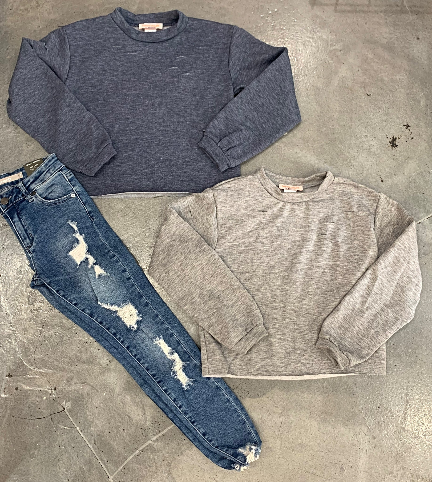 Tweenstyle - Distressed Crop Sweatshirt - Blue