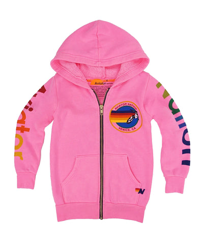 Aviator Nation - KID'S AVIATOR NATION ZIP HOODIE - NEON PINK