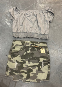 Pinc Short Sleeve Crop Top - Grey