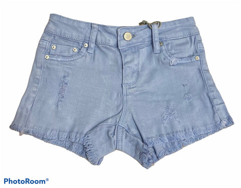 TRACTR GIRLS FRAY HEM DESTRUCTED SHORTS - Hydrangea Blue