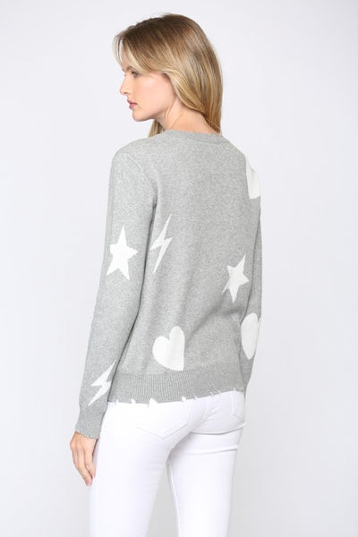Fate - Distressed Hearts and Stars Sweater