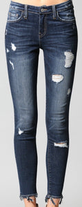 Flying Monkey - MID RISE DISTRESSED SKINNY WITH RIPPED HANGING HEM
