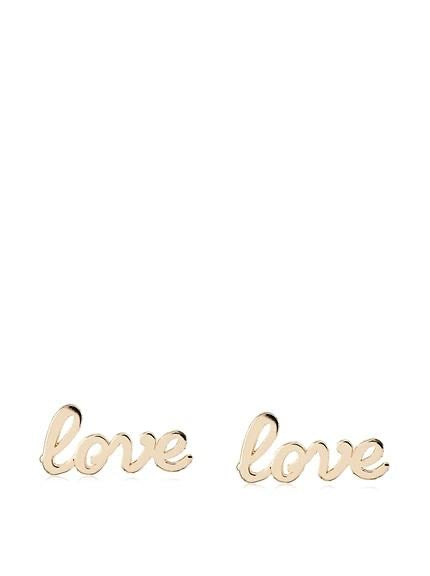 14 KT LOVE SCRIPT STUD EARRINGS